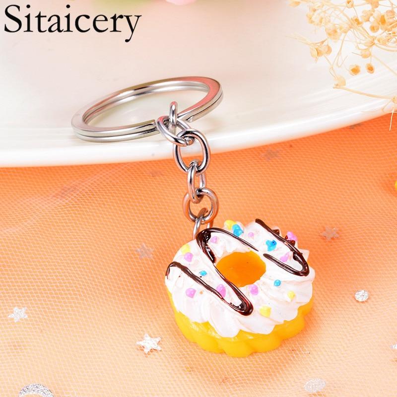 Sitaicery Cute Trinket Key Chain Ring Marvel Keychain Imitation Cake Food Key Chains For Girls Kids Christmas Gift Drop Shipping