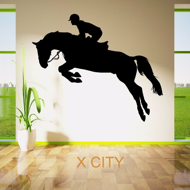 Horse jumping show rider jockey sport silhouette wall sticker vinyl art window decal door stencil room