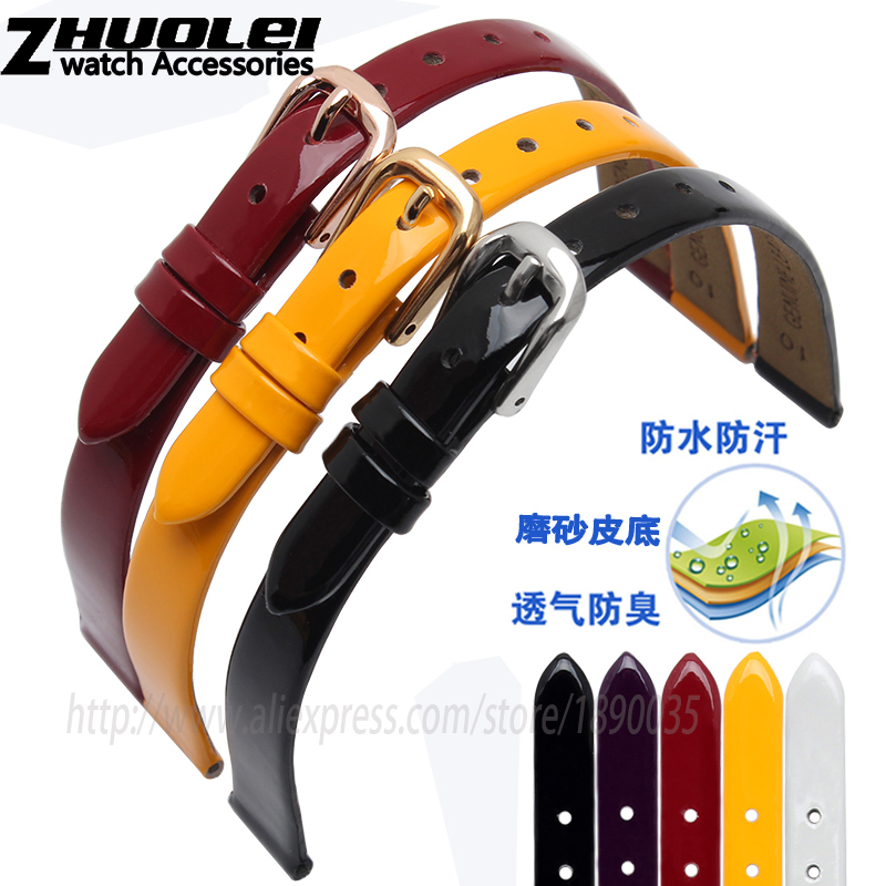 Fashion lacquered leather Bracelet for women watchband polished Genuine leather black red white orange purple 6mm 8mm 10mm strap dull polished mixed beaded bracelet
