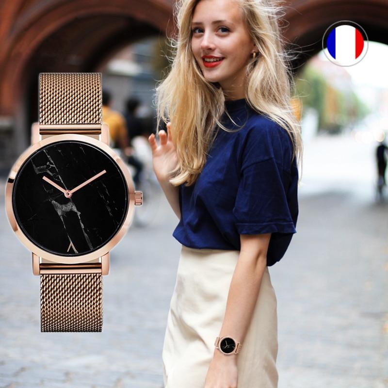 2017 EUTOUR creatieve mode creatieve quartz horloge rose goud lederen marmeren horloges vrouwen ultra dunne klok relogio feminino
