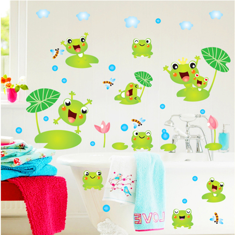 Cute frog bathroom decor sticker baby shower decoration for Baby shower wall decoration
