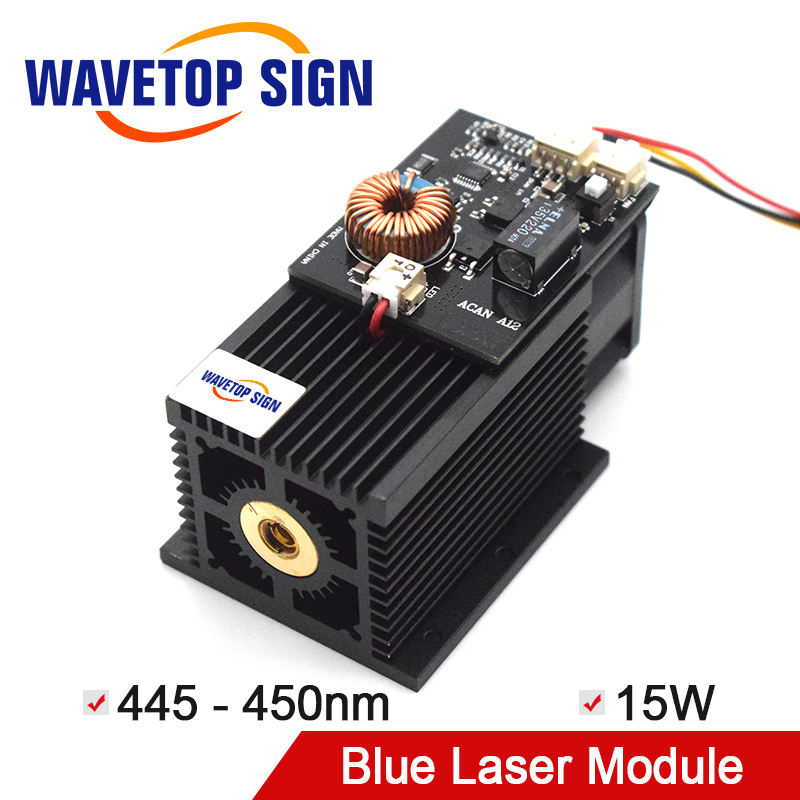WaveTopSign High-power Laser Modul 15W 450nm Blu-ray DIY Laser Gravur Schneiden 450nm Blau Laser Modul 15W