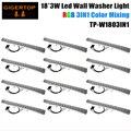 TIPTOP 12pcs/lot 60W RGB Bar Floodlight Waterproof IP65 Outdoor Wall Washer Linear Stage Light 18pcs 3W Spotlight Flood DJ Club