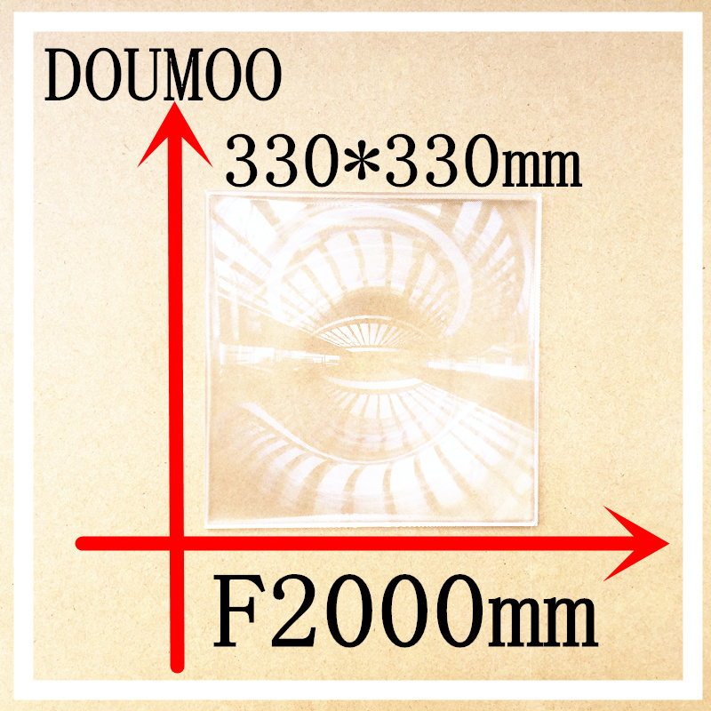 DOUMOO 330*330 mm long focal length 2000 mm fresnel lens for solar energy collection plastic optical fresnel lens PMMA material 1pc 400mm dia large optical pmma plastic big solar fresnel lens focal length 220mm solar concentrator large magnifying glass