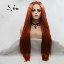 סילביה חום אדום פאת ארוך יקי ישר שיער U חלק תחרת פאה סינטטי תחרת פאה 180% צפיפות חום סיבים עמידים שיער פאות