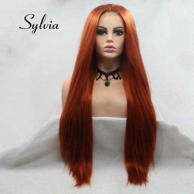 Сильвия коричневый красный парик Длинные Яки прямые волосы U часть кружева парик синтетический парик шнурка 180% Плотность термостойкие волокна волос парики