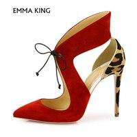 NEW Luxury Charming Red/Black Lace up Heels Suede Leopard Print Pumps Stiletto Heels heel height 10 cm Shoes Woman Heels Ladies