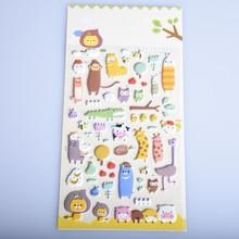 1 Sheet Creative Styling Kawaii 3D Cartoon Sheep zoo PET Diary bubble Stickers Decorative For DIY