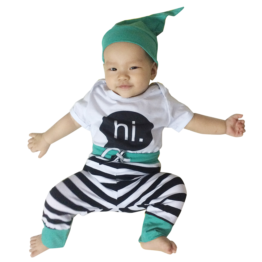 2016 New Autumn Summer Newborn Bodysuit Infant Clothing Baby Boy Girl Clothes Set Shirts+ Pants+Hat 3 Pieces Suits Outfits