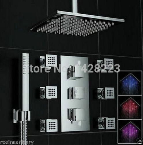 Luxury Concealed Install Rainfall LED Color Changing Thermostatic Shower  Faucet With Hand Shower + 6pcs Body Massage Jets In Shower Faucets From  Home ...