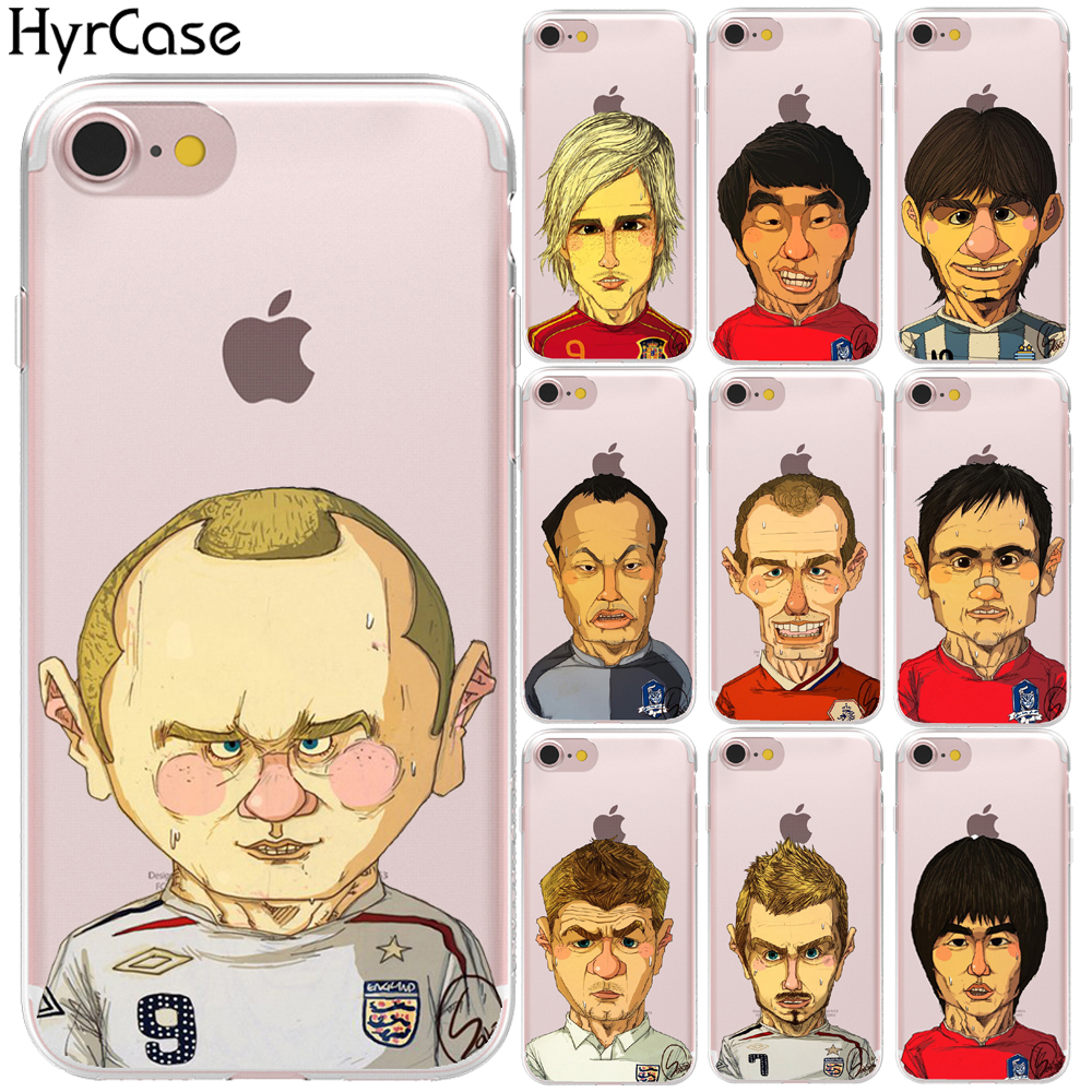 Famous Soccer Players Cartoon Soft TPU Silicone Phone Back Case Cover For Apple iPhone 8 7 6 6S Plus 5S 5 SE X Shell Capa Coque