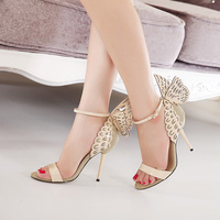 Big Size Butterfly Heels Sandals Thin High Heels Women Pumps Sexy Wedding Shoes Party Fashion Women
