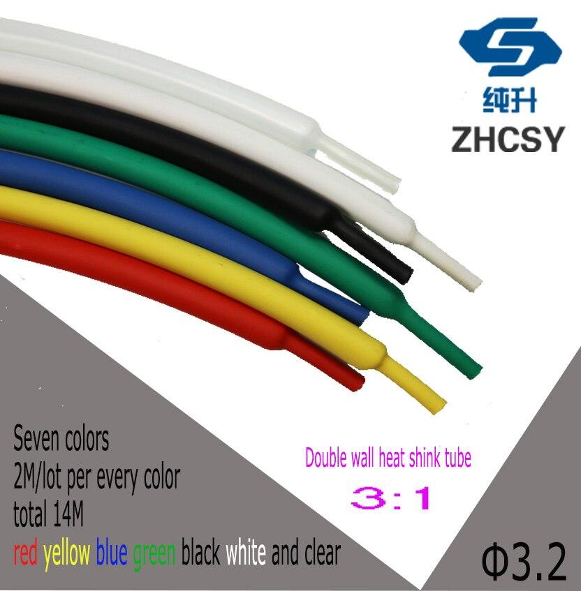 14 M/lot 3.2mm Thermorétractable Tube 3:1 ratio Double Tubes de Paroi Doublure adhésive avec Colle de Câble D'enveloppe Fil kit en câble manches
