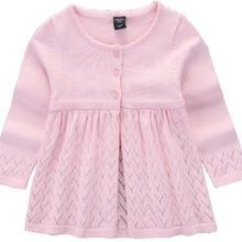 Весенне-осенний Модный повседневный однотонный вязаный пуловер; свитера для детей; хлопковый свитер; топ для девочек; вязаный кардиган