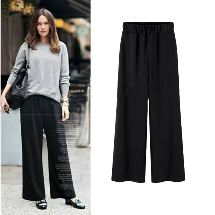 Large Size Casual Women High Waist   Pants   2018 Spring New Large Size Trousers Oversized Loose Casual   Wide     Leg     Pants