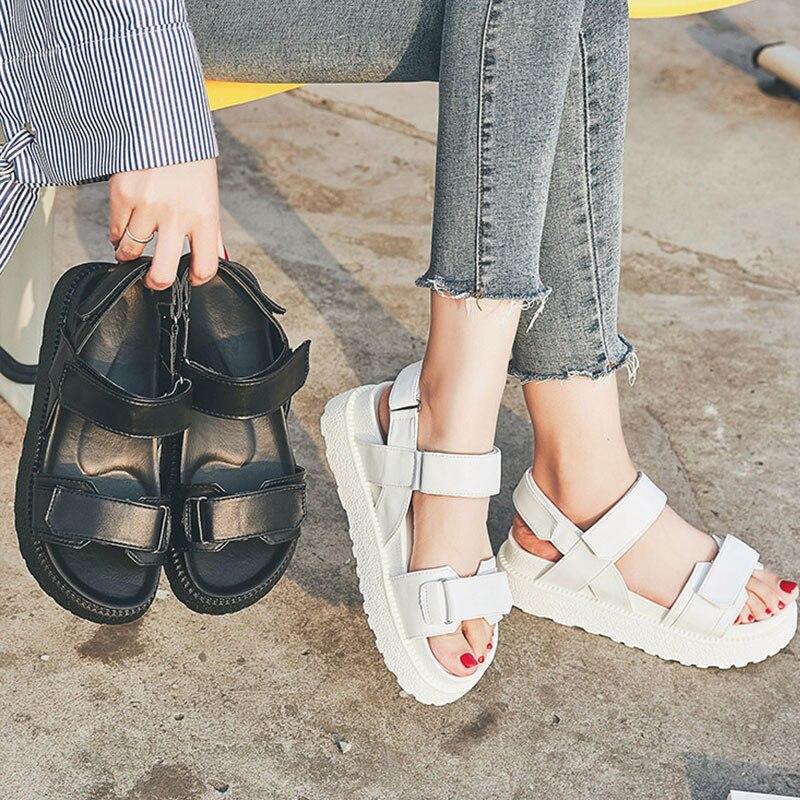 Summer Women Sandals Breathable Black White Platform High Heels Shoes Sandals Ladies Comfortable Women Thick Sole Beach Shoes