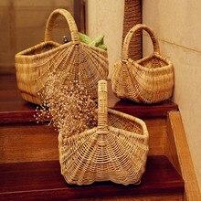 2017 creative Vietnam manual cane picnic basket  fruit bread basket desktop storage basket rural wind