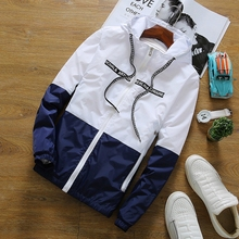 New Spring Autumn Bomber Hooded Jacket Men Casual Slim Patch