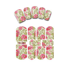 Nail Sticker WATER TRANSFER DECAL FULL COVER SUNGLASSES GIRL BUTTERFLY FLOWER LILY PEONY RU103-108(China)