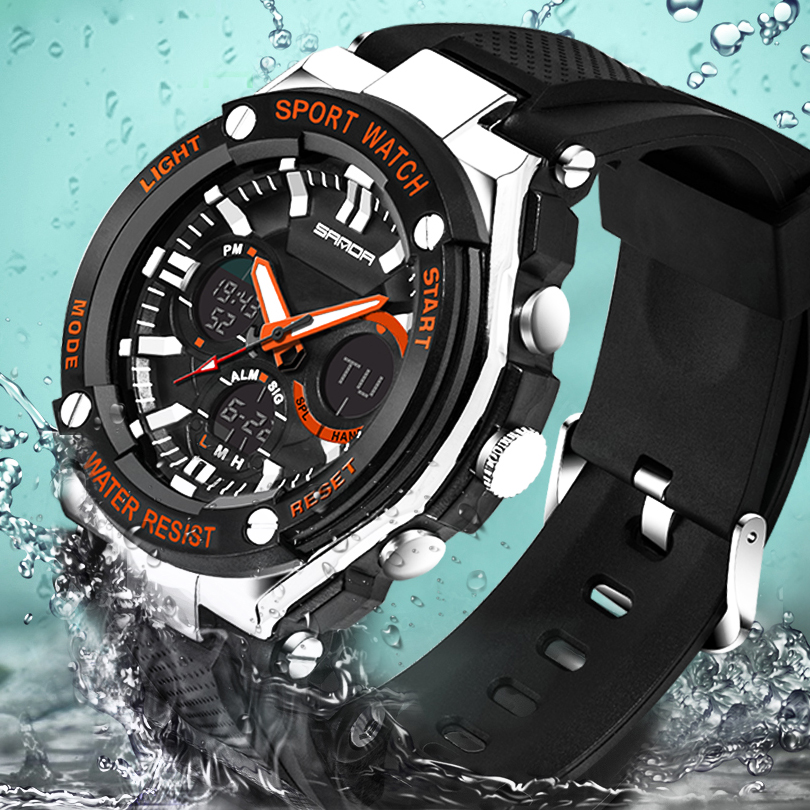 SANDA 733 ספורט שעון גברים שעון צבאי עמיד למים למעלה מותג יוקרה תאריך לוח שנה הדיגיטלי קוורץ שעוני יד relogio masculino
