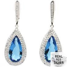 11.4g Real 925 Solid Sterling Silver Stunning Pear Shape London Blue Topaz CZ Ladies Earrings 47x17mm