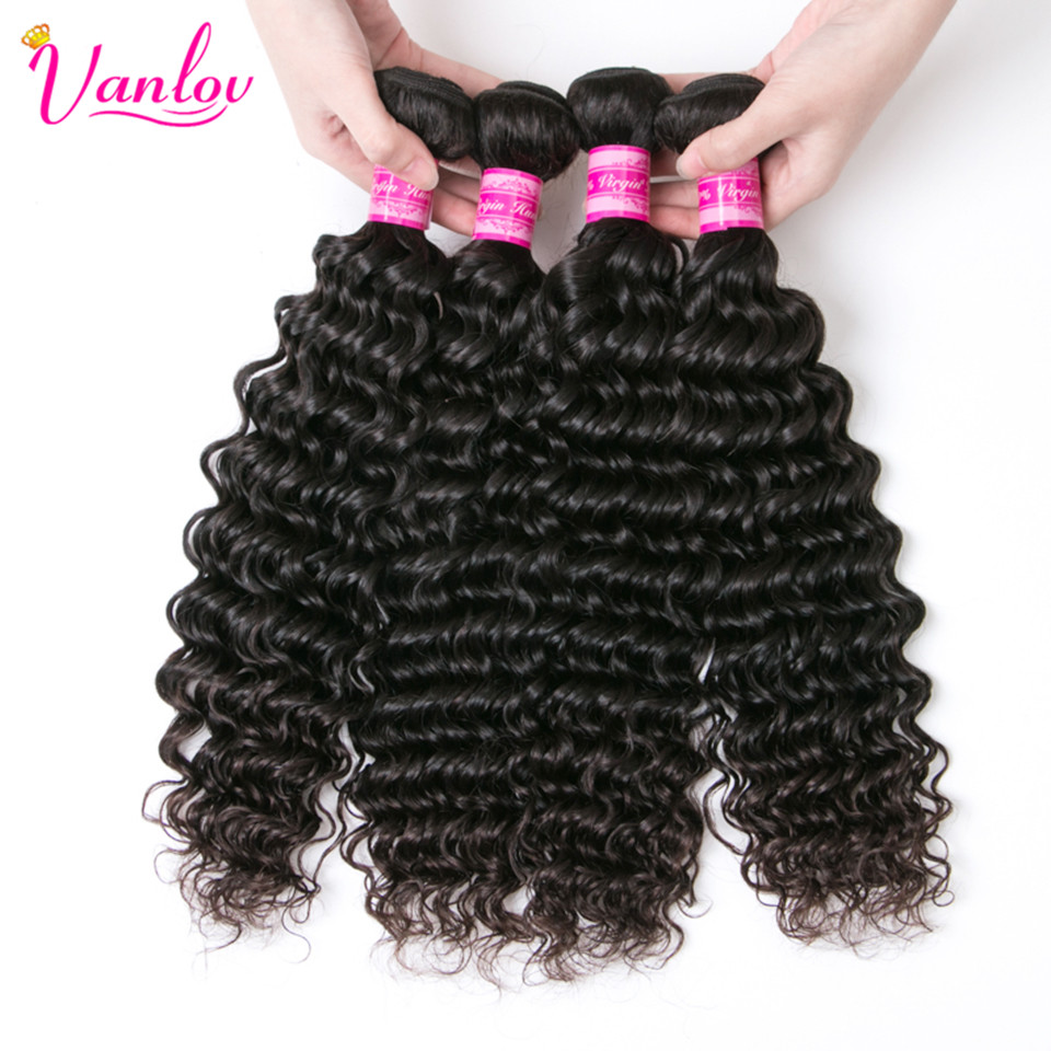 Vanlov Hair Extension Deep Wave Bundles 100% Human Hair Natural Color Peruvian Hair Bundles 3 Or 4 Bundles Jet Black Available