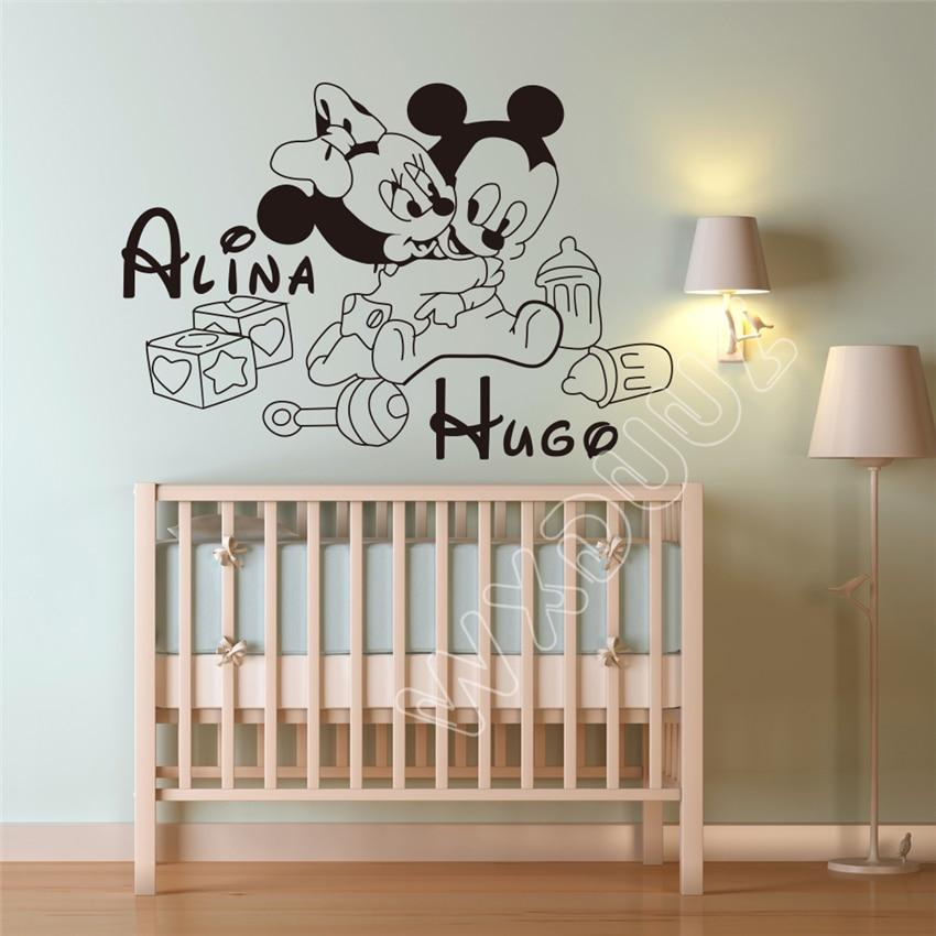 Hot Sale Cartoon Mickey Mouse Minnie Custom two Kids Name baby wall ...