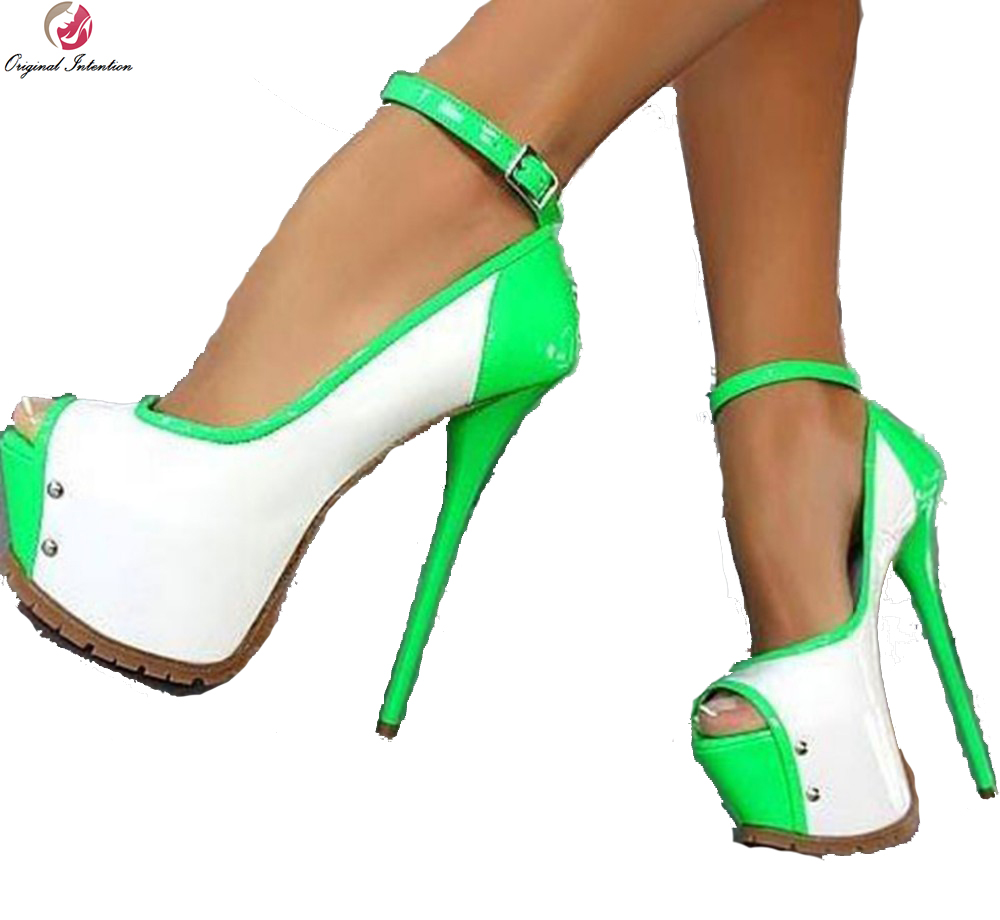 Original Intention Super Sexy Women Pumps Multicolors Platform Peep Toe Thin Heels Pumps Green Black Shoes Woman Plus Size 4-15