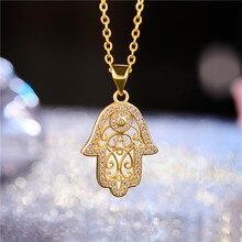 Juya New Design Trendy Gold/Rose Gold Hamsa Hand Of Fatima Pendant Necklace For Women Men Fashion Turkish Jewelry Wholesale
