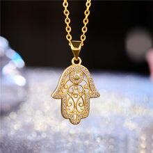 Juya novo design na moda ouro/ouro rosa hamsa mão de fatima pingente colar para mulheres moda masculina turca jóias atacado