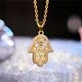 Модное ожерелье Juya с подвеской Хамса рукой Фатимы золотистого/розового золота для женщин и мужчин, модные турецкие ювелирные изделия, оптовая продажа - фото