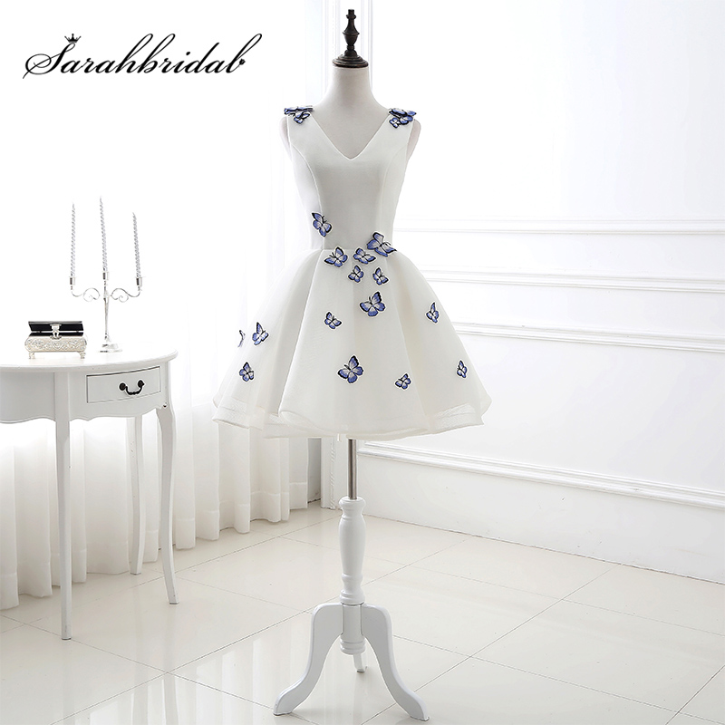 Little White   Dresses   with Beautiful Butterfly Appliques Short A-Line Lace Up Back   Prom     Dress   Simple Women Party Gowns SQS081