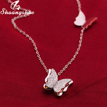 Shuangshuo Silver Necklaces For Women Butterfly Pendant Necklace Choker Fashion Weeding Jewelry Long Chain collares femme
