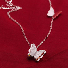 Shuangshuo Silver Necklaces For Women Butterfly Pendant Necklace Choker Fashion Weeding Jewelry Long Chain collares femme(China)