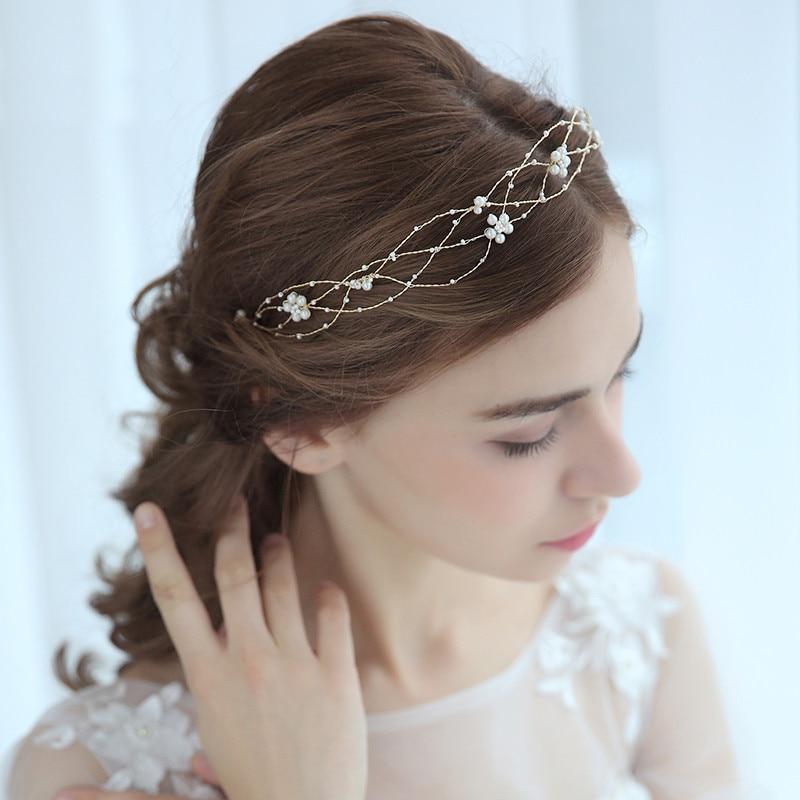 Gold Color Pearls Flower Wedding Headpiece Head Chain ...