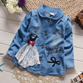 2016 on sale ! Spring Children's Clothes Baby Girls Lace Yarn Long-sleeve Child Denim Outerwear Top Coat Jackets Cowboy