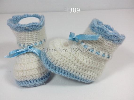 Haak Babylint lichtblauw / Booties / Slippers / Schoenen