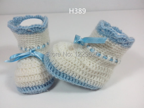 Hæklet Baby Ribbon Light Blueg / Booties / Tøfler / Sko