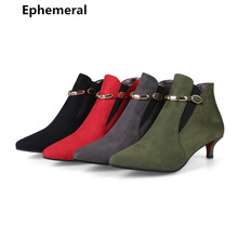 Ankle boots for women thin heels botas femininas de inverno with buckle pointed toe bootie winter fur shoes warm plus size 47 34
