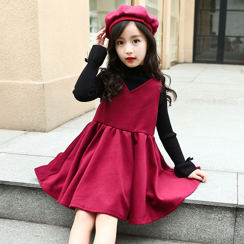Quality Kids Girls winter velvet Princess Dresses Child Fashion Wool Vest Dress + Beret Hat 2pcs Set Cute Girls Thick Warm Dress skullies beanies newborn cute winter kids baby hats knitted pom pom hat wool hemming hat drop shipping high quality s30