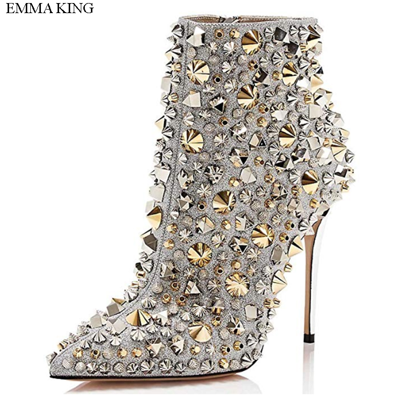 Botines Mujer 2018 Bling Rivets Decorated Zipper Thin High Heels Ankle Boots for Women EMMA KING Pointed Toe Ladies Shoes