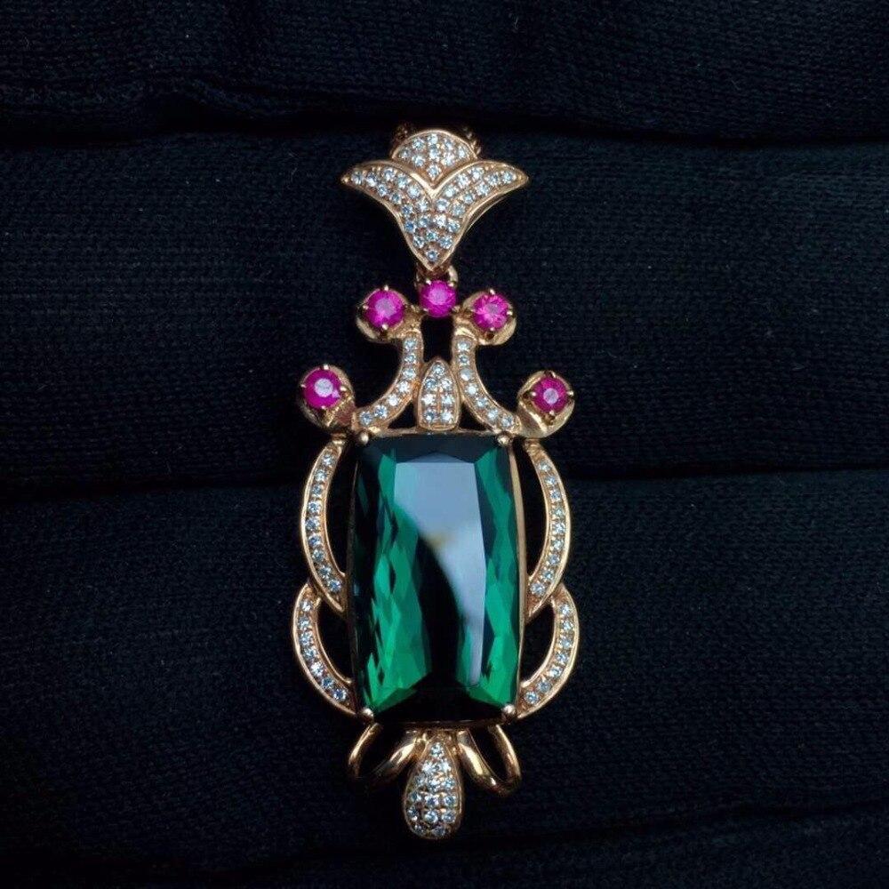 Fine Jewelry Real 18 K Rose Gold 100% Natural Blue Tourmaline 5.6ct Female Diamonds Gemstone Diamond Women's Pendants Necklaces