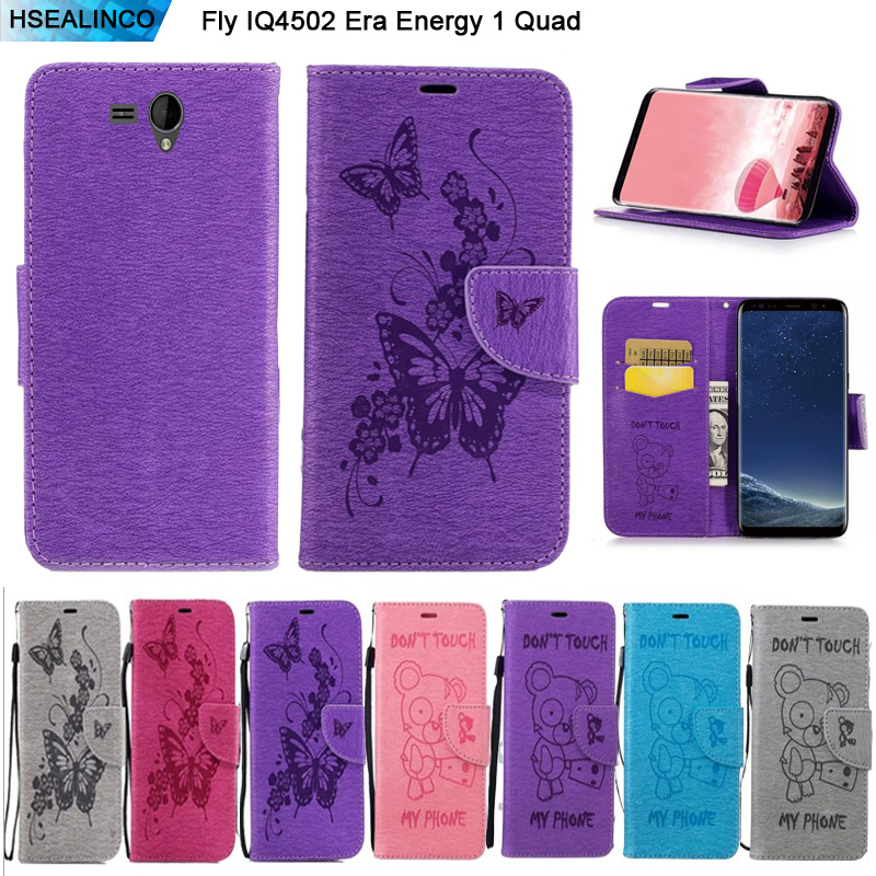 HSEALINCO Wallet Case For Fly IQ4502 ERA Energy 1 Quad Leather Magnetic Embossing Card Slots and Stand Holder Cover with Lanyard