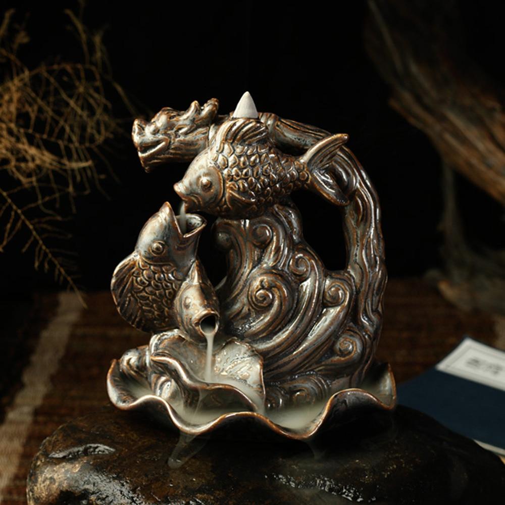 YiHan Store New Fish Ceramic Incense Burner Smoke Backflow Censer High-grade Home Decoration