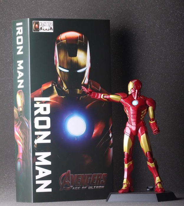 2016 NEW hot 25CM Iron man  CRAZYTOY Best action figure toys Cool Christmas gift doll new hot 17cm avengers thor action figure toys collection christmas gift doll with box j h a c g