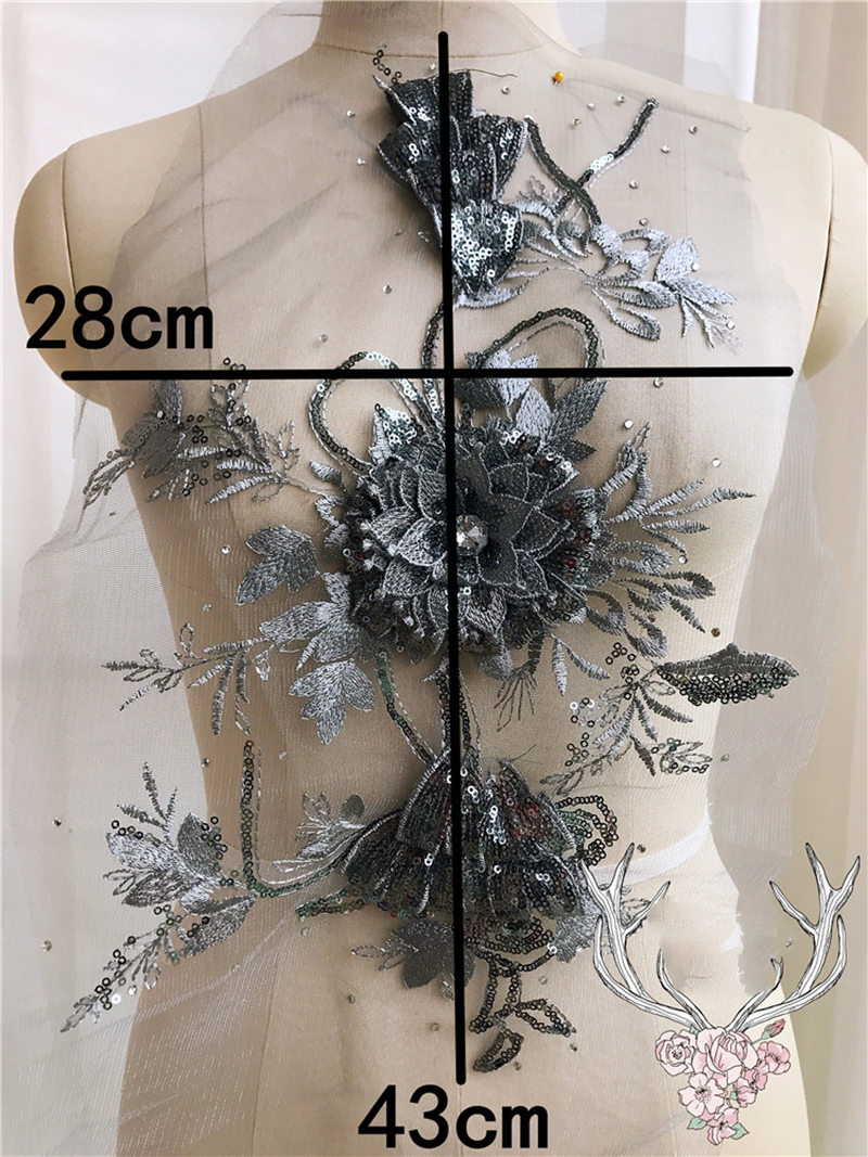 1Pc 3D Flower Fabric Clothes Lace Applique Rhinestone Laces DIY Stickers Patch Sew Overcoat Decoration Red Black Golden Purple in Lace from Home Garden