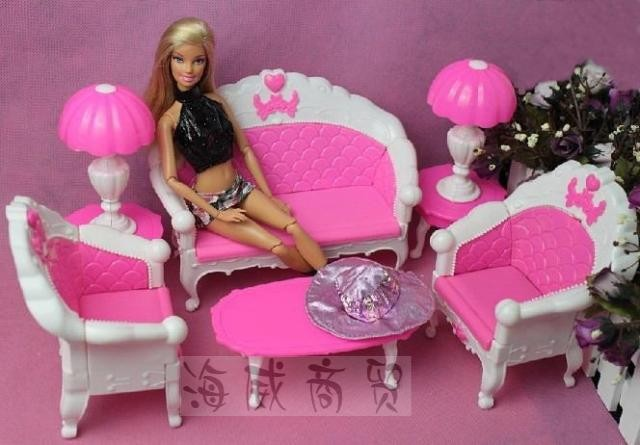 Free Shipping Plastic Vintage Sofa Couch Tea Table Lamp 6Pcs Set Furniture Sets For Barbies Monster