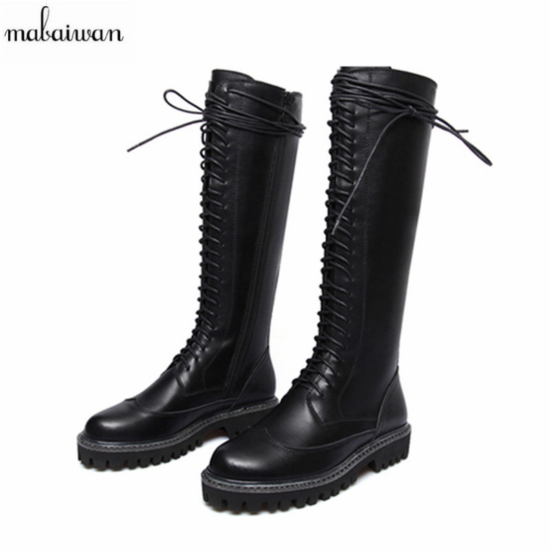 Mabaiwan Women Flats Rain Boots Woman Knee High With Zipper Lace Up Cool Riding Rubber Botas Winter Martin Boots Plus Size 42 rubber high red zipper boots horse riding gumboots rainboots women rain boots botte de pluie stivali donna wellies bot