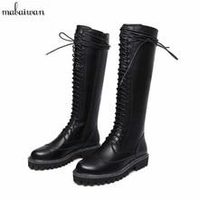 Новые женские осенние сапоги на плоской подошве для дождливой погоды красивые женские сапоги Botas до колена с застежкой-молнией на резиновой подошве и шнуровке для верховой езды зимние ботинки Martin большой размер 42