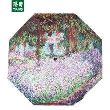 98 CM * 8 ribs 3D Printing Garden Flower Umbrella Portable Sunny Rainy 3 Folding Umbrella